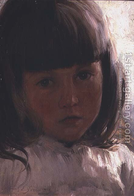 Study of a young girl by Edward Emerson Simmons - Reproduction Oil Painting