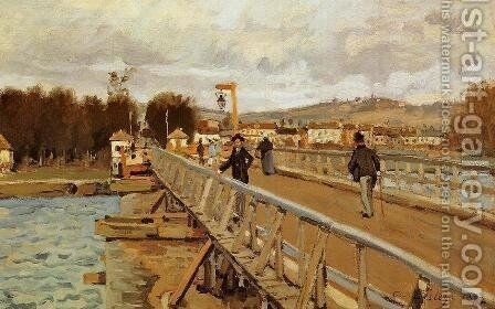 Footbridge at Argenteuil, 1872 by Alfred Sisley - Reproduction Oil Painting