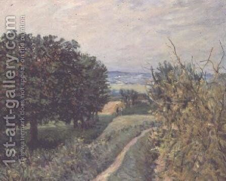 In the Vineyards at Louveciennes, 1874 by Alfred Sisley - Reproduction Oil Painting
