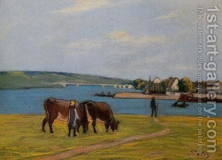 Cows on the Banks of the Seine at Saint-Mammes by Alfred Sisley - Reproduction Oil Painting