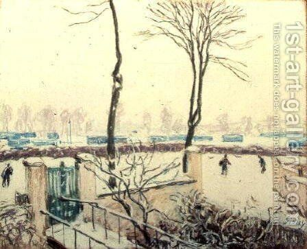 Snow Scene at Moret, c.1894 by Alfred Sisley - Reproduction Oil Painting