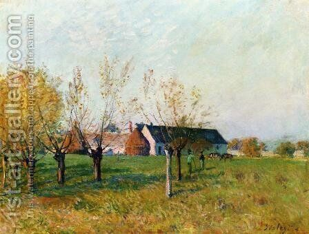 The Farm, 1874 by Alfred Sisley - Reproduction Oil Painting