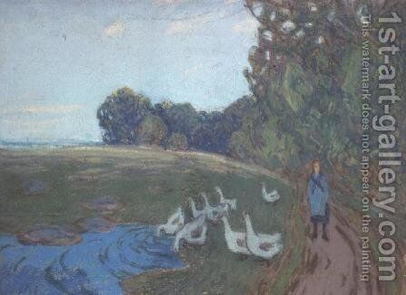 The Goose Girl, c.1895 by Alfred Sisley - Reproduction Oil Painting