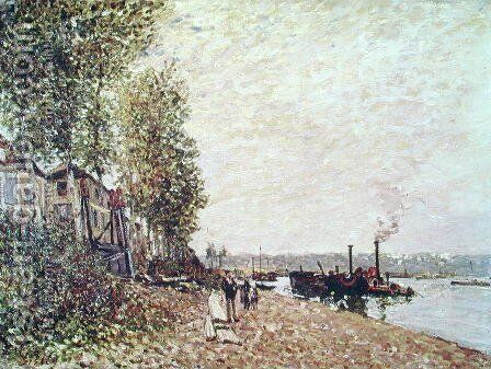 Steam Boats on the Loing at Saint-Mammes, 1877 by Alfred Sisley - Reproduction Oil Painting