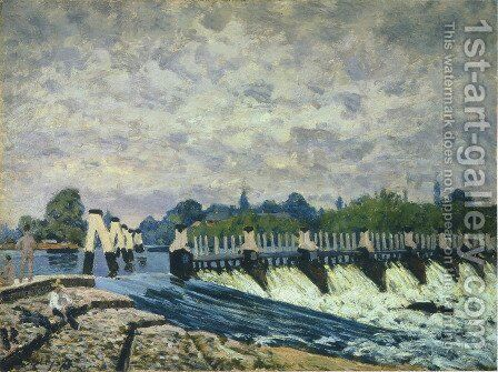 Molesey Weir Hampton Court, 1874 by Alfred Sisley - Reproduction Oil Painting