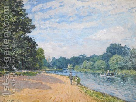 The Thames with Hampton Church, 1874 by Alfred Sisley - Reproduction Oil Painting