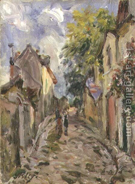 Village Street Scene by Alfred Sisley - Reproduction Oil Painting