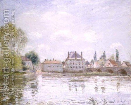 The Bridge at Moret-sur-Loing, 1890 by Alfred Sisley - Reproduction Oil Painting