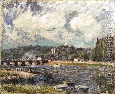 The Bridge at Sevres, c.1877 by Alfred Sisley - Reproduction Oil Painting