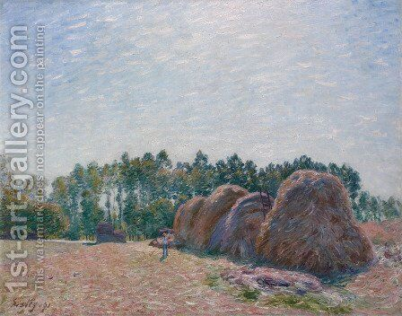 Haystacks at Moret, Morning Light, 1891 by Alfred Sisley - Reproduction Oil Painting