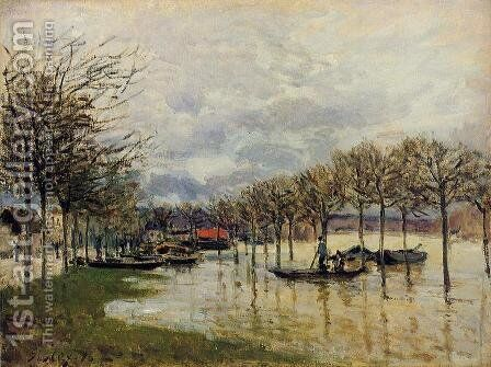 The Flood on the Road to Saint-Germain, 1876 by Alfred Sisley - Reproduction Oil Painting
