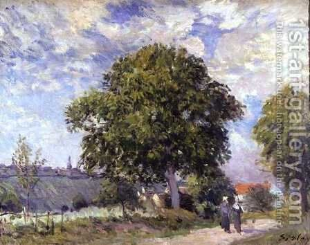 The Entrance to the Village, c.1880 by Alfred Sisley - Reproduction Oil Painting