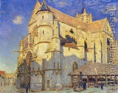 The Church at Moret, Frosty Weather, 1893 by Alfred Sisley - Reproduction Oil Painting