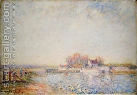 River Scene with Ducks, 1881 by Alfred Sisley - Reproduction Oil Painting