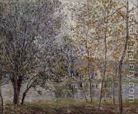 The Loing Canal in Spring, 1892 by Alfred Sisley - Reproduction Oil Painting
