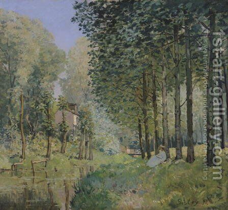 The Rest by the Stream. Edge of the Wood, 1872 by Alfred Sisley - Reproduction Oil Painting
