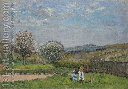 Children playing in the Meadow by Alfred Sisley - Reproduction Oil Painting