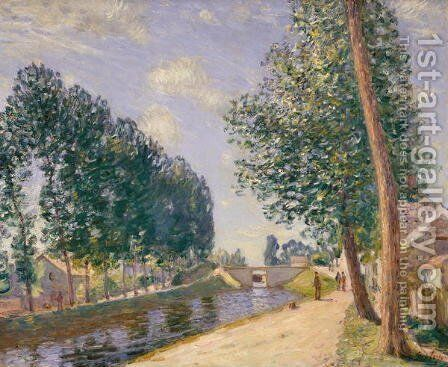 The Loing Canal at Moret, c.1892 by Alfred Sisley - Reproduction Oil Painting