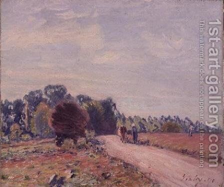 The Road through the Meadows, Morning, 1891 by Alfred Sisley - Reproduction Oil Painting