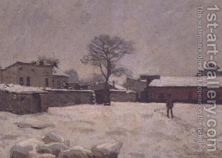 Under Snow: the farmyard at Marly-le-Roi, 1876 by Alfred Sisley - Reproduction Oil Painting