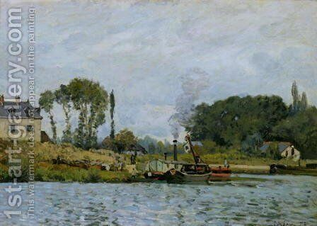 Boats at the lock at Bougival, 1873 by Alfred Sisley - Reproduction Oil Painting