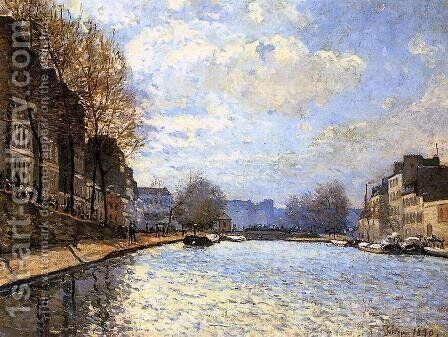 View of the Canal Saint-Martin, Paris, 1870 by Alfred Sisley - Reproduction Oil Painting