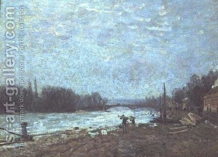 After the Thaw, the Seine at Suresnes Bridge, 1880 by Alfred Sisley - Reproduction Oil Painting