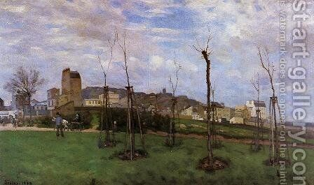 View of Montmartre from the Cite des Fleurs, Les Batignolles, 1869 by Alfred Sisley - Reproduction Oil Painting