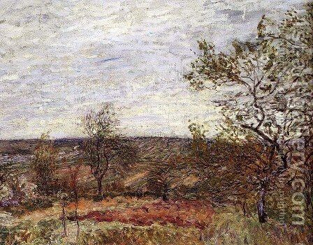 Windy Day at Veneux, 1882 by Alfred Sisley - Reproduction Oil Painting