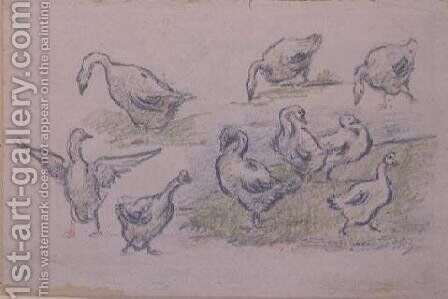 Ducks by Alfred Sisley - Reproduction Oil Painting