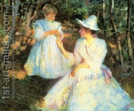 Mother and Child in Pine Woods, c.1893 by Edmund Charles Tarbell - Reproduction Oil Painting