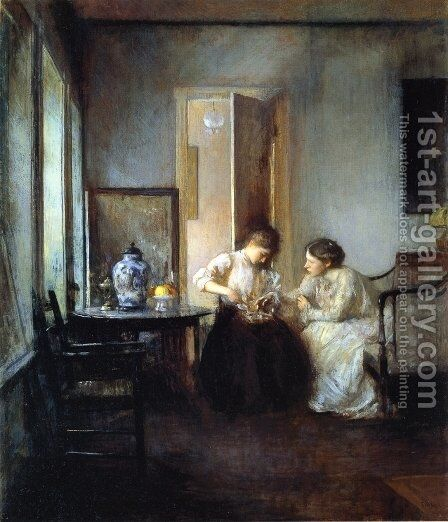 New England Interior, 1906 by Edmund Charles Tarbell - Reproduction Oil Painting