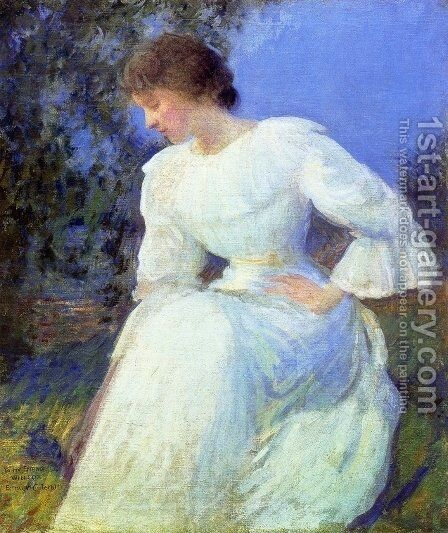 Woman in White, c. 1890 by Edmund Charles Tarbell - Reproduction Oil Painting