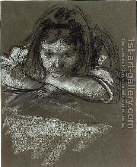 Head and Shoulders of a Girl at a Table by Henry Tonks - Reproduction Oil Painting