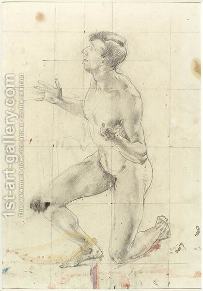 Study of a Kneeling Nude Man, turned to the left by Henry Tonks - Reproduction Oil Painting