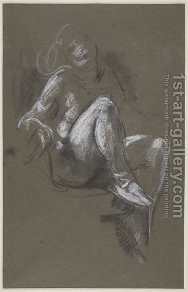 Seated Nude Girl wearing Ballet Shoes by Henry Tonks - Reproduction Oil Painting