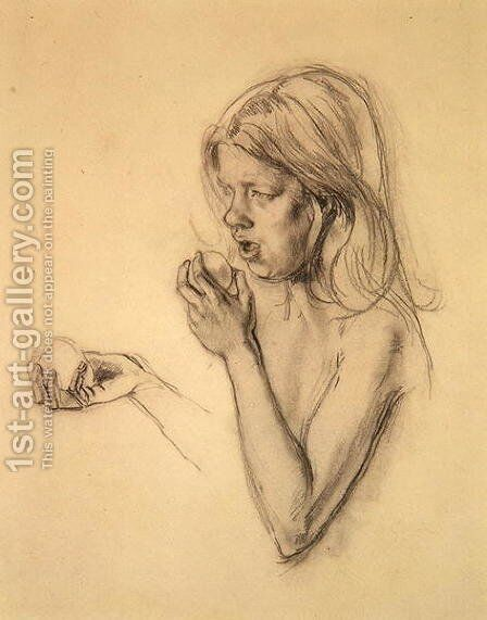 Head and Shoulders of a Girl as Eve by Henry Tonks - Reproduction Oil Painting