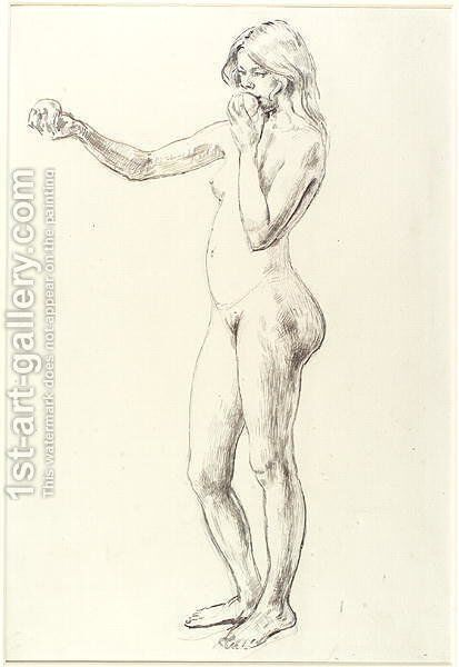 Standing Nude Girl by Henry Tonks - Reproduction Oil Painting