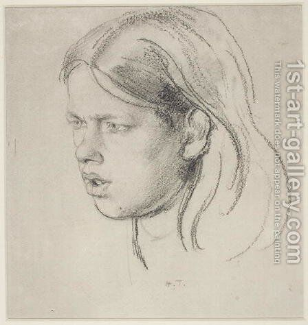 Head of a Girl by Henry Tonks - Reproduction Oil Painting
