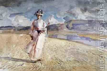Woman Walking on the Sand by Henry Tonks - Reproduction Oil Painting