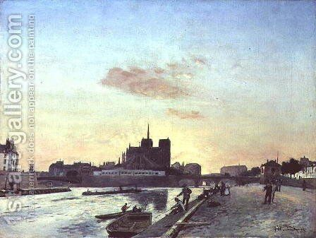 View of Notre Dame, Paris, 1864 by Johan Barthold Jongkind - Reproduction Oil Painting