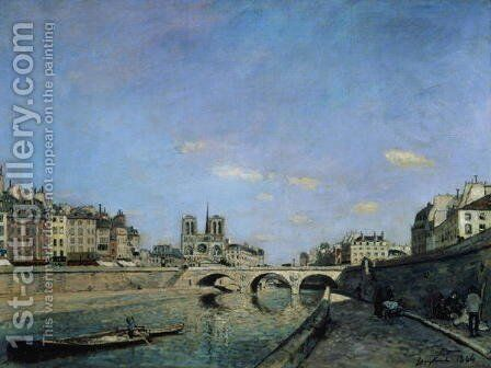 The Seine and Notre Dame in Paris, 1864 by Johan Barthold Jongkind - Reproduction Oil Painting