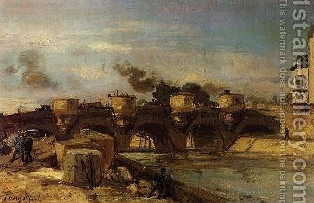 Fire on the Pont Neuf, 1853 by Johan Barthold Jongkind - Reproduction Oil Painting