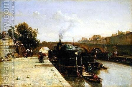 The Seine at Pont Marie, Paris, 1851 by Johan Barthold Jongkind - Reproduction Oil Painting