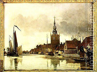 View of Overschie near Rotterdam, 1856 by Johan Barthold Jongkind - Reproduction Oil Painting