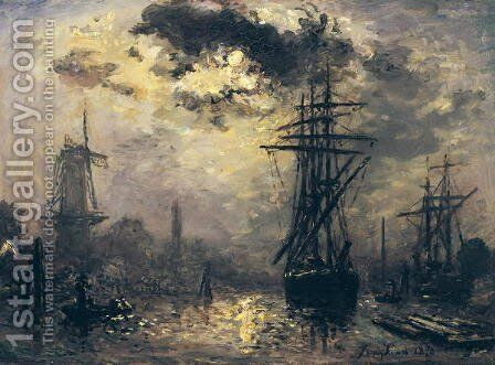 View of the Port, or The Windmills in Rotterdam, 1870 by Johan Barthold Jongkind - Reproduction Oil Painting