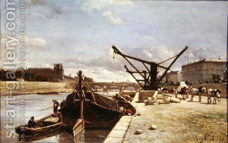 View of the Pont Royal, Paris by Johan Barthold Jongkind - Reproduction Oil Painting
