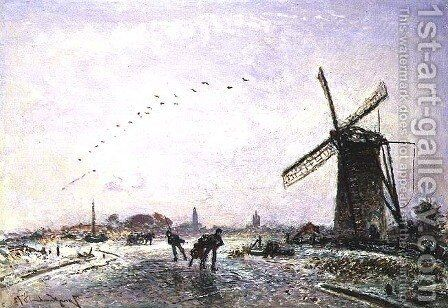 Ice-Skaters in Holland, 1872 by Johan Barthold Jongkind - Reproduction Oil Painting