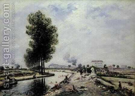 The Canal de l'Ourcq near Pantin, 1871 by Johan Barthold Jongkind - Reproduction Oil Painting
