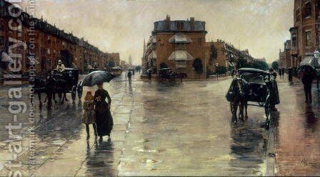A Rainy Day in Boston by Childe Hassam - Reproduction Oil Painting